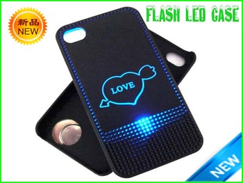 LED bling cell phone case for Iphone 4 heart shape signal sensor back cover cases , 100% free as gift , do not for sell!!!