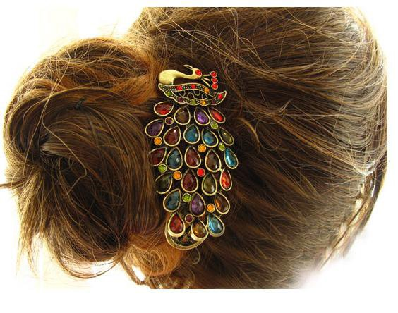 Free Shipping 10pcs/lot Vintage Gorgeous Peacock Hair Clip, Hair Accessory, Syn. Gemstone Headwe ...