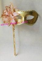Hallowmas Venetian Masquerade MASKS Side Flower Plastic Handheld Stick Mask Dance Party MASK Yellow Free Shipping 20 PCS