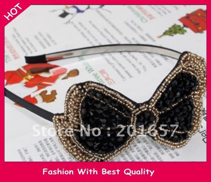 New arrival freeshipping fashion crystal beads bow design headband/hairband black and grey 12pc/lot(China (Mainland))