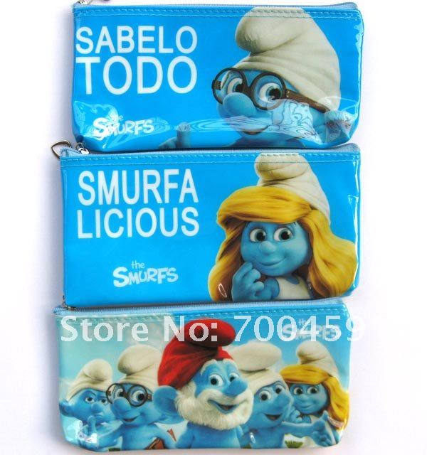 20 PCS Purses Wallet Smurfs creative pencil case/ cute pencil pouch/ cute pen bag/Stationery Bags(China (Mainland))
