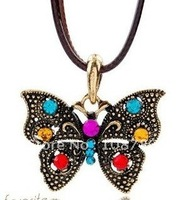 12pcs/lot Free shipping antique flying butterfly full rhinestone  chain necklace wholesale&retail cheap promotion popular