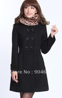 LiLing tall waist show thin double platoon to buckle wool coat coat