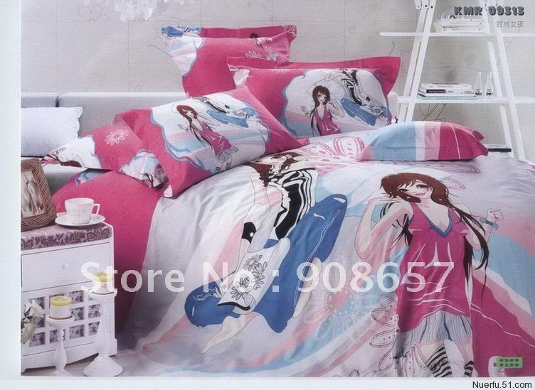100% cotton dyed bedlinen brand new hot pink fashion girl cartoon pattern queen bedding set comforter quilt/duvet cover set 4pc(China (Mainland))