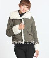 Han edition lady short paragraph coat lamb hair leisure cotton-padded jacket