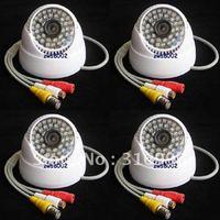 4 Pcs 420TVL CMOS Audio Color Indoor Video CCTV Surveillance Security Camera System DVR W95