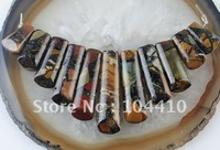Free Shipping! 11Pcs Multi Color Picasso Jasper Pyrite Stone Gemstone Jewelry Pendant Beads Sets for Necklaces Wholesale