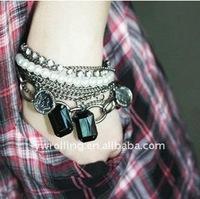 New style !6pcs/lot Fashion layered  Crystal bracelet free-shipping