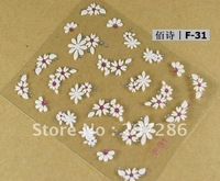 Free shipping! 12 Sheets/lot 3D lace crystal Gems white sun flower Nail Art Stickers F31