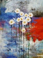 Handmade flower Oil Painting,abstract daisy,Promotion,free shipping