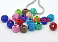 16MM Mixed Color Mesh Bead Balls, Metal Large Hole Round Mesh Spacer Beads, Fit For European Bracelets, Jewelry Findings-50PCS