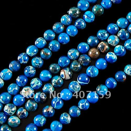 "Free Shipping! 6mm Blue Sea Sediment Jasper Round Ball Loose Beads 16"" for Necklaces Earrings Bracelets Wholesale(China (Mainland))"