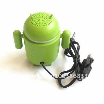 Free shipping 50pcs  mini Google Android Robot speaker  for MP3 mp4 laptop Ipod  Via FEDEX
