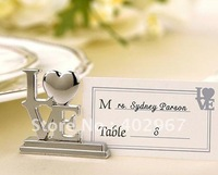 60pcs/lot Wedding Bridal favour supplies, LOVE Metal Place Card Holders, Silver banquet table decoration accessories
