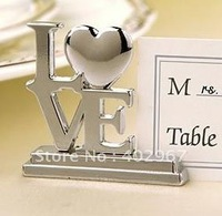 free shipping 100pcs/lot Wedding favor LOVE, Metal Place Card Holder, Silver wedding decoration accessory