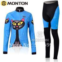 Free Shipping 2011 Monton Blue Cat Thermal Fleece Long Sleeve Cycling Jersey+Pants/Cycling Wear/Cycling Clothing/Bike Jersey