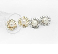 Korea Jewelry - Sunflower pearl earrings ,NN-002301   ,Stud Earrings,hot earring,nice earring,free shipping