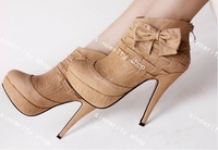 Free shipping women's boot bow Ankle zip boots round toe shoes 5-7.5