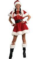 Wholesale! FREE SHIPPING!(10pieces) Velvet Miss Santa Costume, Christmas Costume