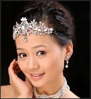 G353 Free shipping RHINESTONE Bridal band/clip BIG flower shape CROWN Tiara Bridal Wedding Party JEWELRY