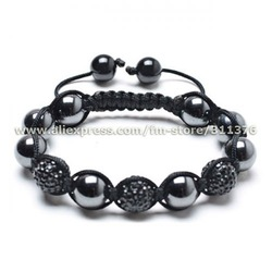 Hottest Fashion Black Magnetic Hematite Balls Crystal Shamballa Bracelet Wristbands+Free Gift Box(China (Mainland))