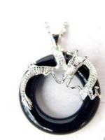 New black jade dragon Jewelry Pendant/Necklace free Shipping