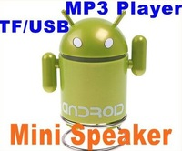 5pcs/lot Andriod Robot Mini Speaker Mp3 Player with TF USB port,computer Speakers/portable speakers/USB speakers /Sound box