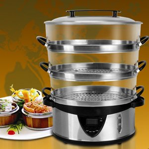 3-Tier Stainless-Steel Digital Food Steamer FS-1149S Food Braiser Steamer Vegetable Healthy Steamer EMS free shipping HXA0544