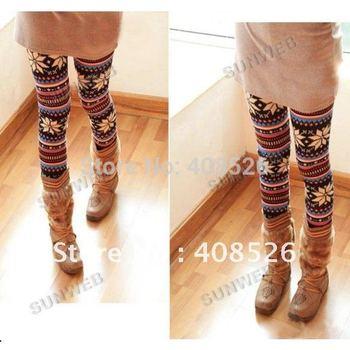 Free Shipping Fashion Thin Colorful Crystal Pattern snowflakes Women's Knit Leggings Pants 1972