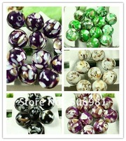 16mm Round Natural Shell Loose Bead 5 Colour 40pcs/lot Free Shipping SB001