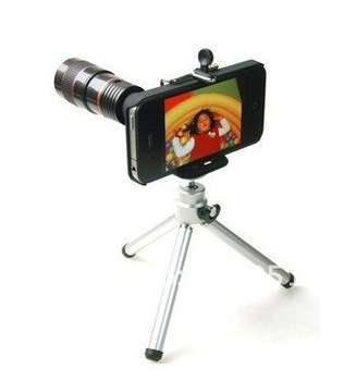 Hot ! Wholsale Telescope 8 x Zoom Lens Optical For iPhone 4 10pcs/Lot