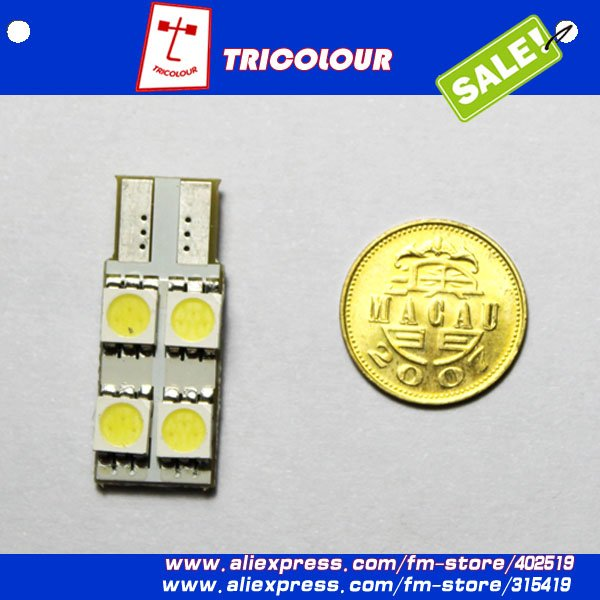 wholesale 500pcs/lot T10 W5W 194 4 5050 SMD LED High Power Bright Car Interior Wedge Dome Side Light Bulb Lamp #D09013(China (Mainland))