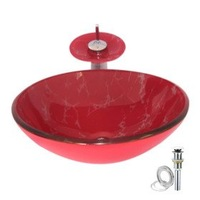 New Free Shipping Red Tempered glass Vessel Sink With Waterfall Faucet ,Pop - Up drain and Mounting Ring
