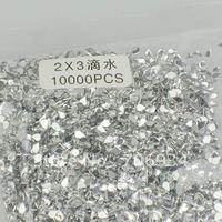 1bag/lot(10000pcs/bag) 12 Color optional 2*3mm Clear water-drop Crystal Nail Art Tip Rhinestone