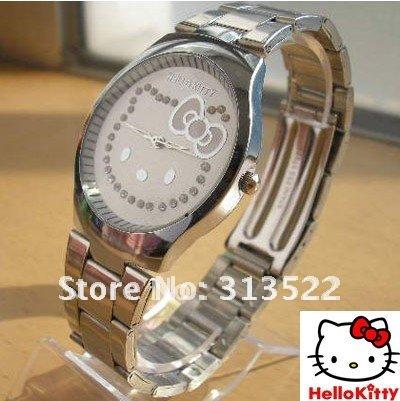 Free shipping by DHL 50pcs/lot Hello Kitty watch Classic steel bracelet watch Children's watch fashion wrist watch for 2011(China (Mainland))