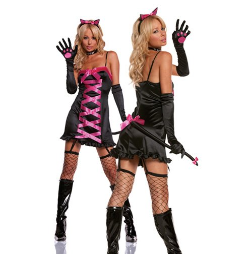 Free shipping women halloween costume Midnight Kitty Costume dress gloves collar cat ears,LC8393(China (Mainland))