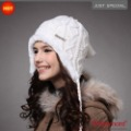 Holiday Sale -50% Hot Selling Plush Earflap Hat, Knitted Wool Beanie Hat KM-1140-02 White