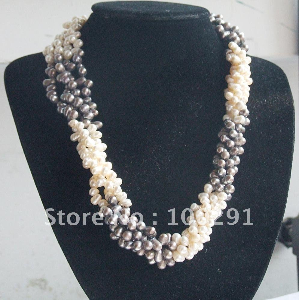 free shipping!!! 9pcs/lot different designs multi-rows freshwater pearl necklace improving your dignity(China (Mainland))