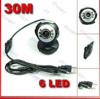 Free shipping!10 pieces /lot USB 30.0M 6 LED PC Laptop Video Web Cam Webcam + Mic