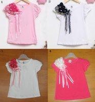 Розничная торговля! b2w2 детей розовый Топы детские t рубашка с цветок детские короткий рукав теэ рубашку девушки Симпатичные t рубашка rt-111