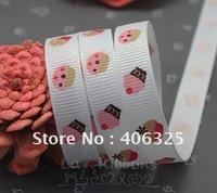 "wholesale+free shipping 3/8""  polyester satin ribbon grosgrain ribbon, cartoon ice cream  printed ribbon webbing"