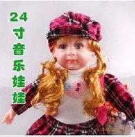 free shipping Electric walk baby dolls walk color hair orange female baby toys