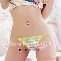 Promotion Wholesale 12 pcs/lot- striped cotton women panties,sexy T-shaped pants, 2-074