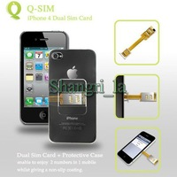 Dual sim card adaptor adapter for iphone  4 with case retail box free shipping