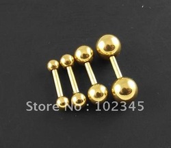 18g Micro barbell anodized zircon gold titanium plated body jewelry earrings.100pcs/lot(China (Mainland))