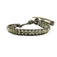 2014 latest labradorite leather bracelet for woman and man Wrap Bracelet on Leather