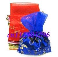 Free shipping! lots 200pcs chiffon Silk Brocade Pouches bags W Organza Drawstring silk bag