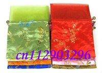Free shipping! lots 50pcs chiffon Silk Brocade Pouches bags W Organza Drawstring silk bag
