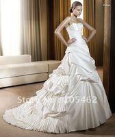 Free shipping 2011new style fashion cascading ruffle satin wedding dress/strapless sexy bridal dress