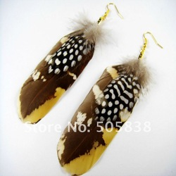 wholesale fashion beautiful pheasant feather for the feather earrings golden hook jewellery / 10pairs/lot(China (Mainland))